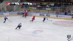 Удаление. Владимир Бобылёв (Спартак) удалён на 2 минуты за атаку игрока, не владеющего шайбой