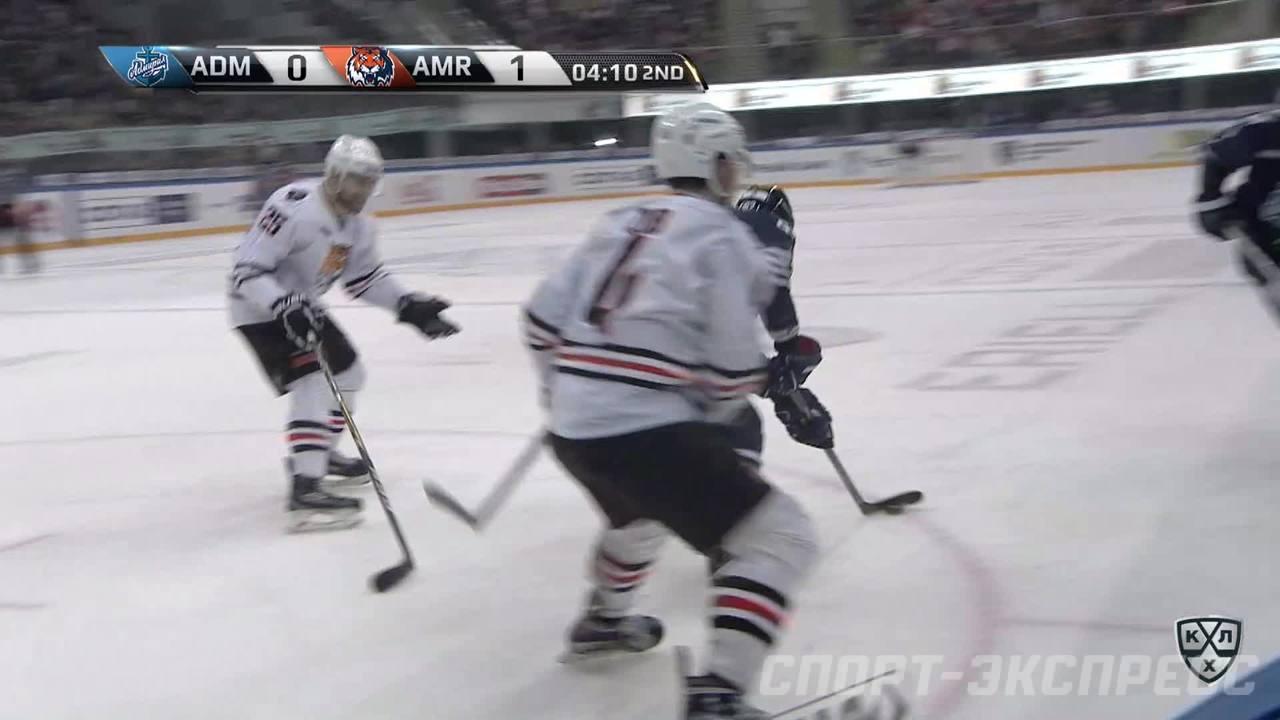 Удаление. Дедунов Павел (Амур) за атаку игрока не владеющего шайбой.