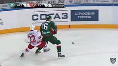 Удаление. Роман Абросимов (Ак Барс) удалён на 2 минуты за опасную игру высоко поднятой клюшкой