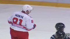 Удаление. Стасенко Николай (Северсталь) за опасную игру высоко поднятой клюшкой.