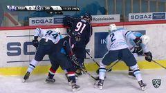 Удаление. Неколенко Илья (Сибирь) удален на 2+10 минут за атаку в область головы и шеи