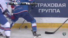 Удаление. Зубарев Андрей (СКА) удален на 2 минуты за атаку игрока, не владеющего шайбой, Ковальчук Илья (СКА) удален на 5+20 минут за колющий удар