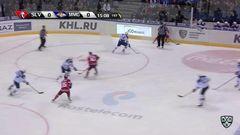 Удаление. Сергей Терещенко (Металлург) удалён на 2 минуты за атаку игрока, не владеющего шайбой