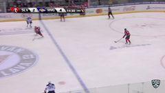 Удаление. Андрей Штястны (Слован) удалён на 2 минуты за атаку игрока, не владеющего шайбой