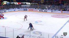 Удаление. Эмиль Галимов (Локомотив) удалён на 2 минуты за атаку игрока, не владеющего шайбой