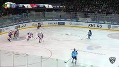 Удаление. Евгений Артюхин (Сибирь) удалён на 2 минуты за атаку игрока, не владеющего шайбой
