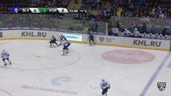 Удаление. Олег Погоришный (Югра) получил 2 минуты за атаку игрока, не владеющего шайбой