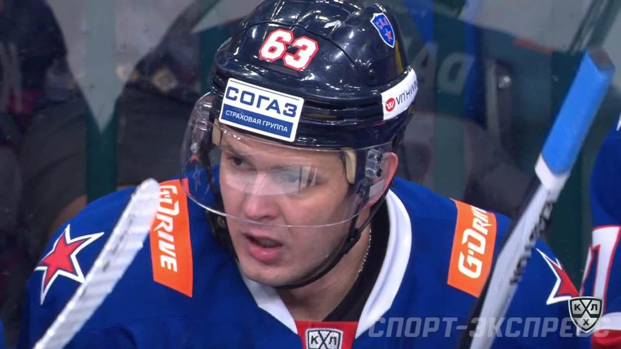 Удаление. Роман Руковишников (СКА) получил 2 минуты за подножку