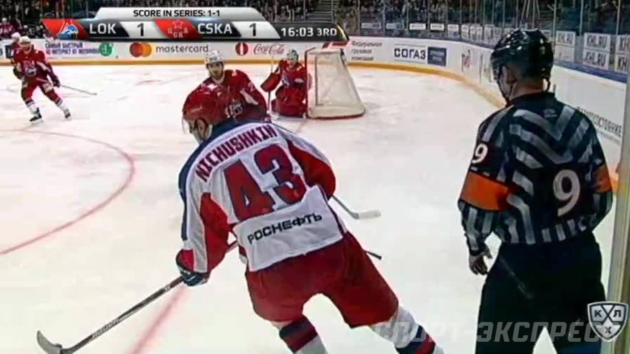 Удаление. Якуб Накладал (Локомотив) получил 2 минуты за задержку клюшкой