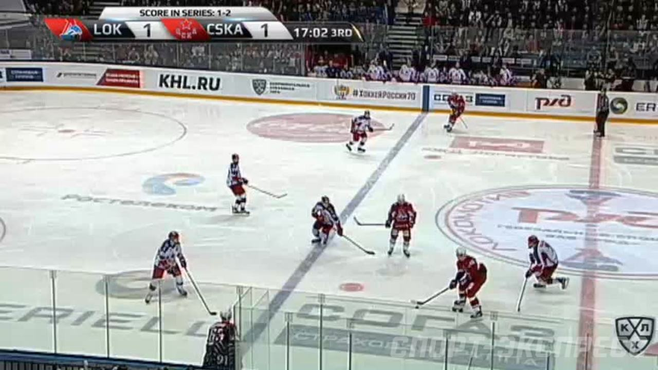 Гол. 2:1. Красковский Павел (Локомотив) забрасывает шайбу в ворота соперника