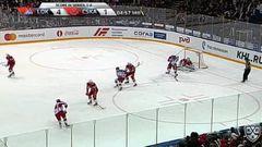 Удаление. Киселевич Богдан (ЦСКА) удален на 2 минуты за атаку игрока, не владеющего шайбой