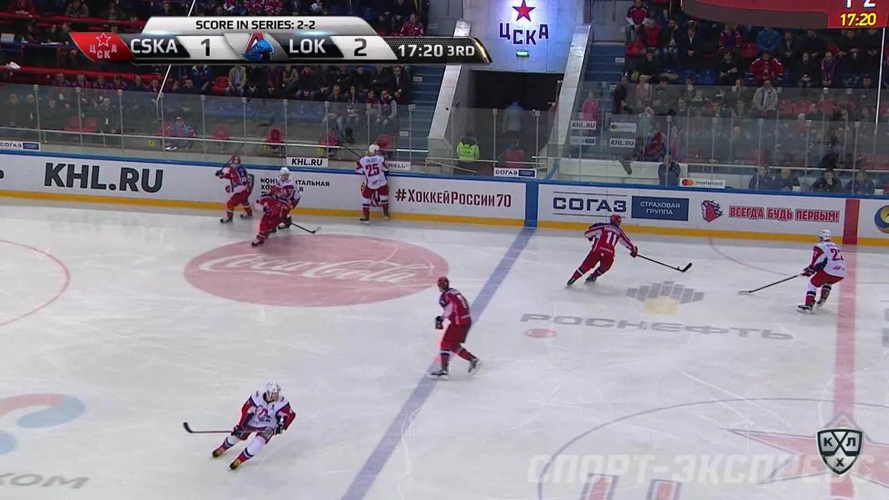 Удаление. Валерий Ничушкин (ЦСКА) удалён на 2 минуты за опасную игру высоко поднятой клюшкой